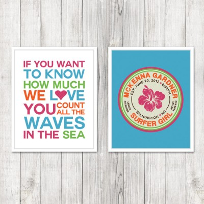 Set of 2 Girls Surf Themed Nursery Prints