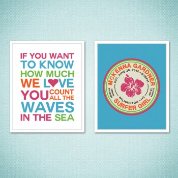 Set of 2 Girls Surf Themed Nursery Prints