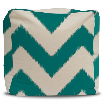 Ikat Chevron Pouf and Cover Bold Teal