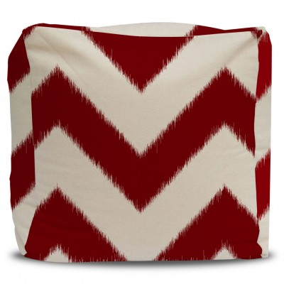 Ikat Chevron Pouf and Cover Bold Red