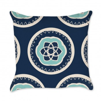 Medallion Patterned Pillow Cover in Navy