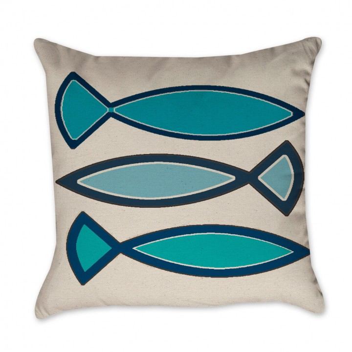 Navy Blue and Turquoise Funky Fish Pillow Cover