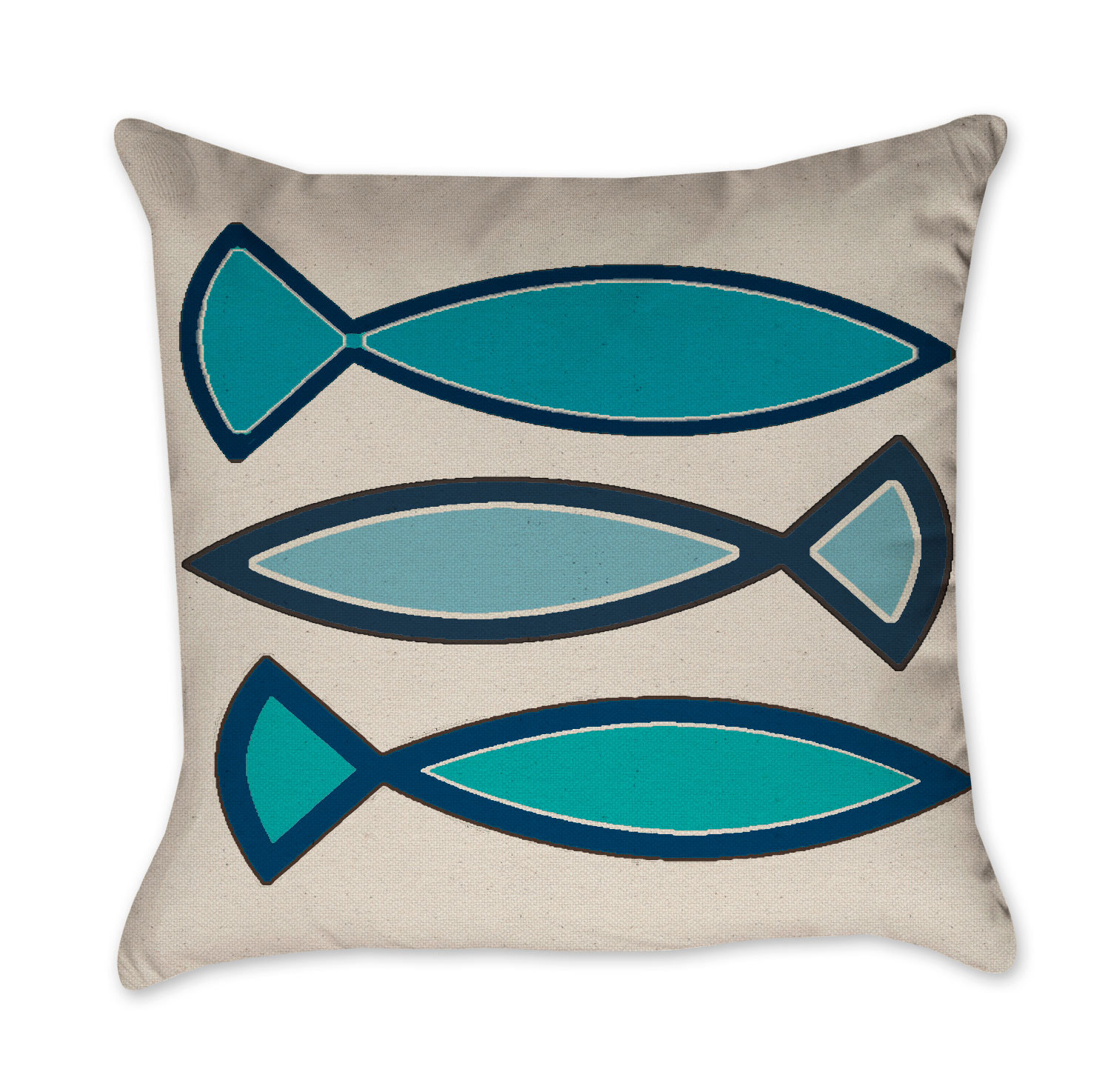 navy blue and turquoise funky fish pillow -