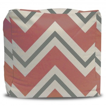 Coral and Gray Chevron Pouf Ottoman