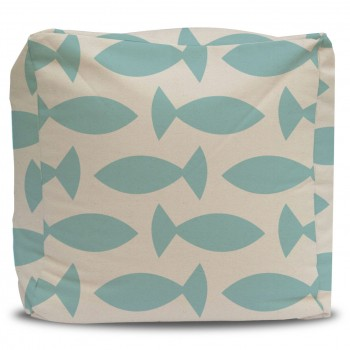 blue fish pouf