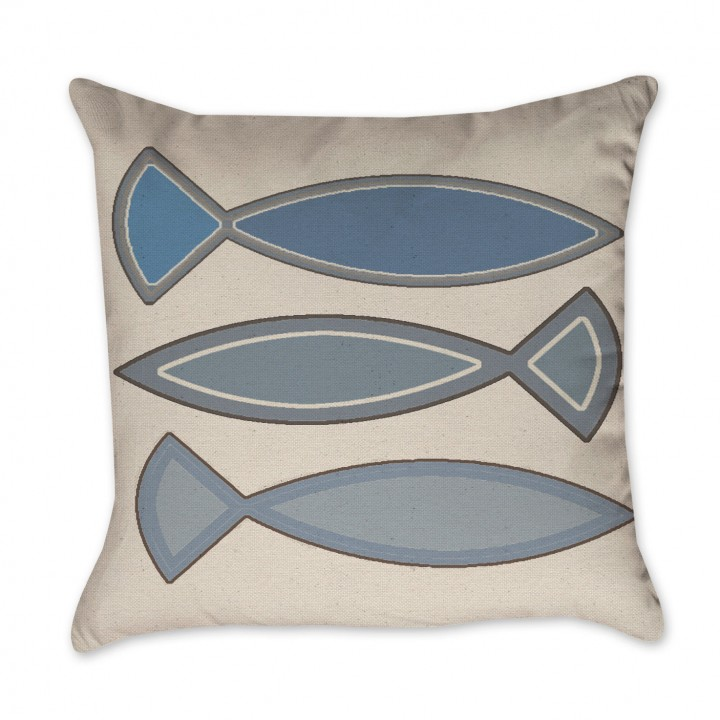 blue funky fish pillow cover