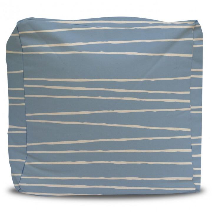 blue pattern pouf