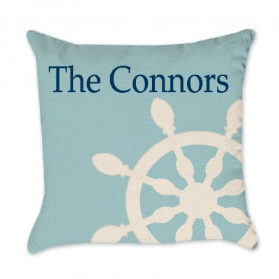 blue ship wheel pillow cover