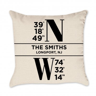 Personalized Coordinates Name Pillow Cover - Black