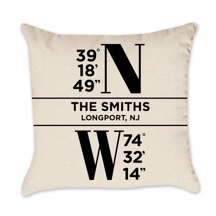 Personalized Coordinates Name Pillow Cover – Black