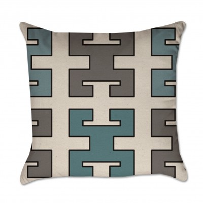 Turquoise and Gray Greek Key Pattern Pillow Cover