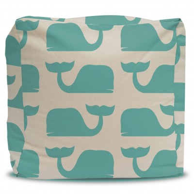 Pouf and Cover Teal Whales
