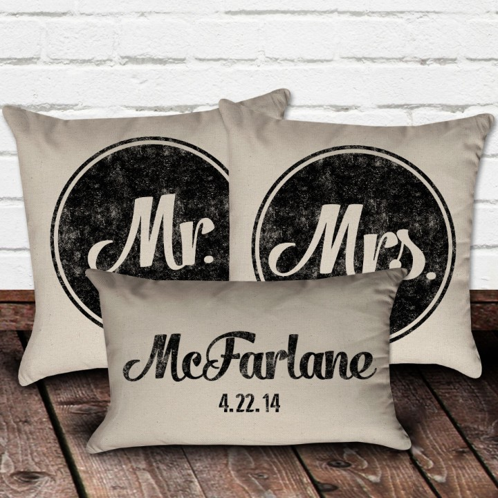 Mr. & Mrs. Pillow Set with Personalized Last Name Pillow