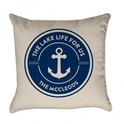 Personalized Pillow Cover Lake Life For Us Anchor Family Name