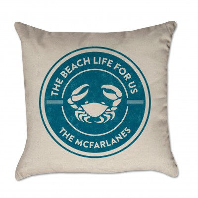 Personalized Pillow Cover Beach Life For Us Crab Family Name