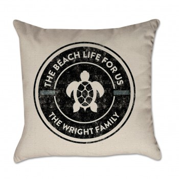 Personalized Pillow Cover Beach Life For Us Black Sea Turtle