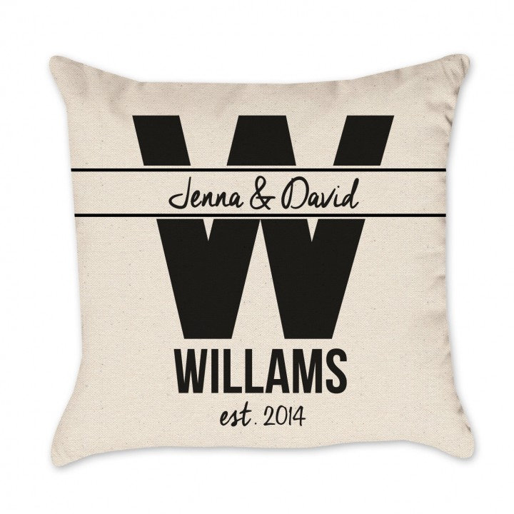 Personalized Wedding Gift Pillow Cover EST