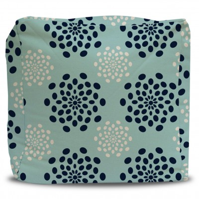 Pouf and Cover Seafoam and Navy Starburst