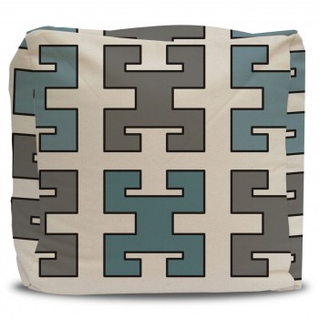 Pouf and Cover Turquoise and Greek Key