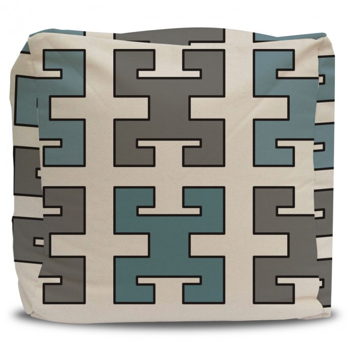 Greek Key Pouf Ottoman in Turquoise and Gray