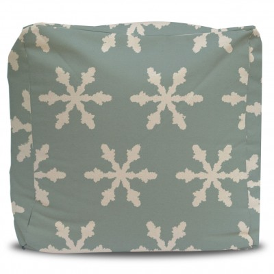 Pouf and Cover Seafoam Snowflake