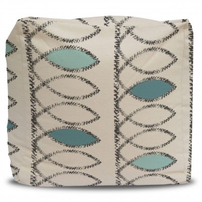 Pouf and Cover Fish Line Turquoise and Gray