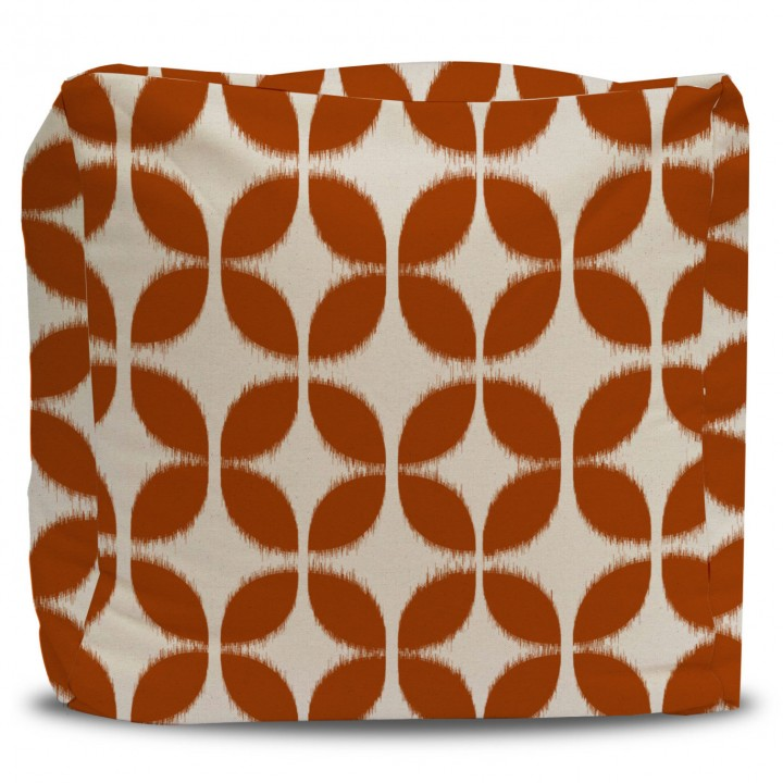 Pouf and Cover Mod Orange Circle Pattern