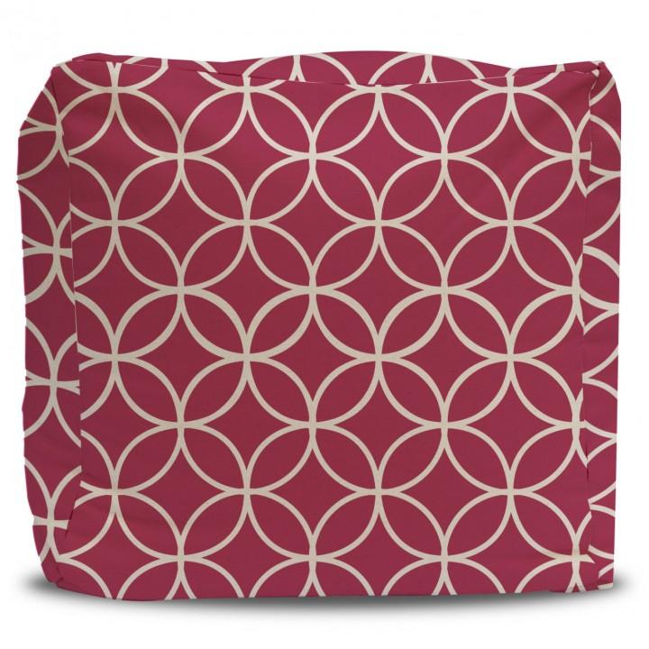 Red Star Lattice Pattern Pouf Ottoman