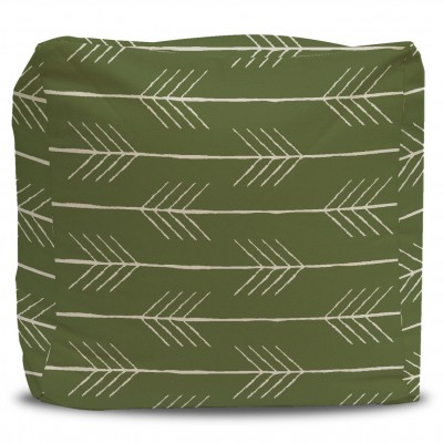 Pouf and Cover Lime Green Medallion