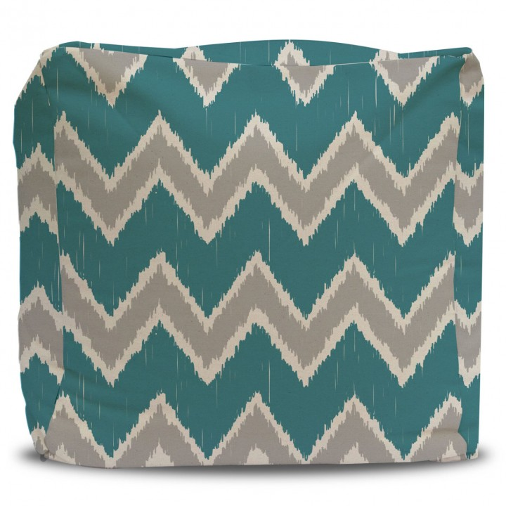 Pouf and Cover Teal and Gray Ikat Chevron