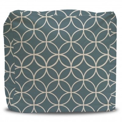 Turquoise Star Lattice Pattern Pouf Ottoman