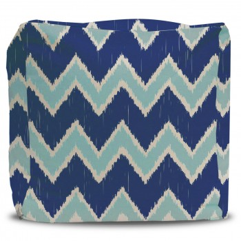 Pouf and Cover Cobalt and Seafoam Ikat Chevron