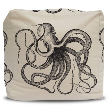 Pouf and Cover Vintage Ink Octopus