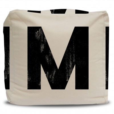 Pouf and Cover Monogram Letter - Black