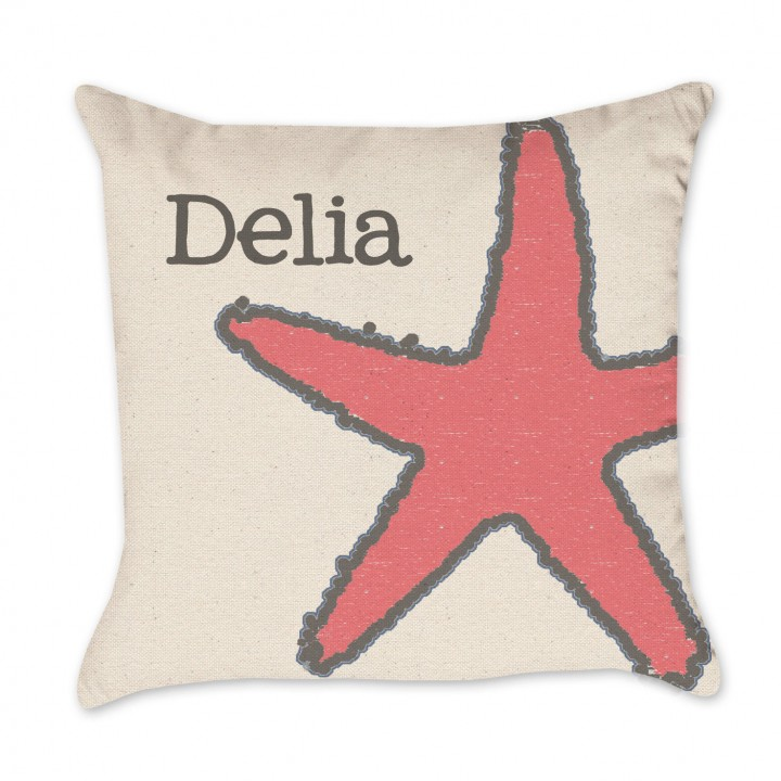 Personalized Starfish Coral and Gray Pillow Cover
