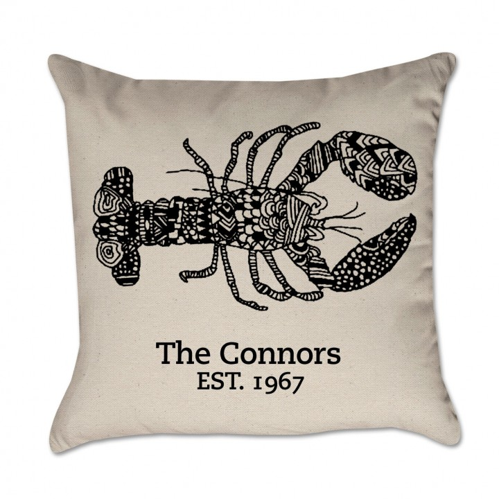 Personalized Lobster Pillow Black Ink Cover