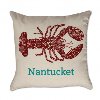 Personalized Lobster Pillow Red and Turquoise Cover