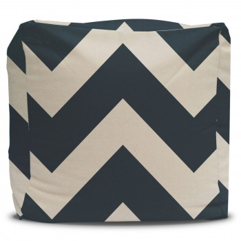 Large Black Chevron Pouf Ottoman