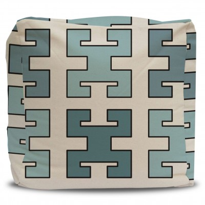 Greek Key Turquoise and Seafoam Pouf Ottoman