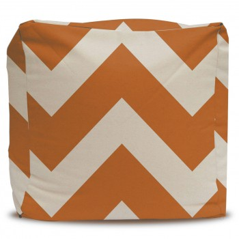 Large Orange Chevron Pouf Ottoman