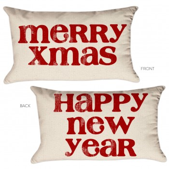 merry xmas new year pillow cover