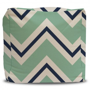 Mint and Navy Blue Chevron Pouf Ottoman