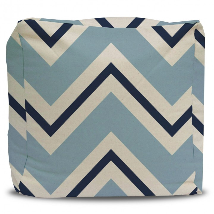 Pale Blue and Navy Chevron Pouf Ottoman