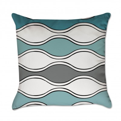 Turquoise and Gray Waves Pillow Cover