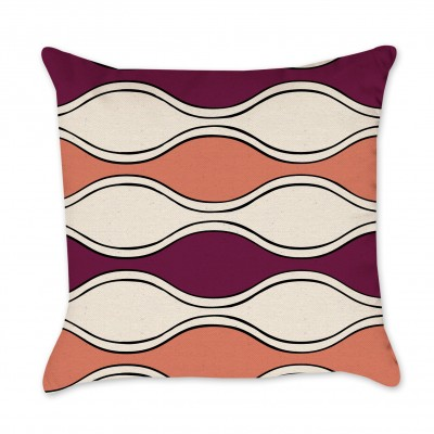 Coral and Maroon Waves Pillow Cover