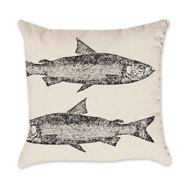 Ink Fish Print Pillow Cover