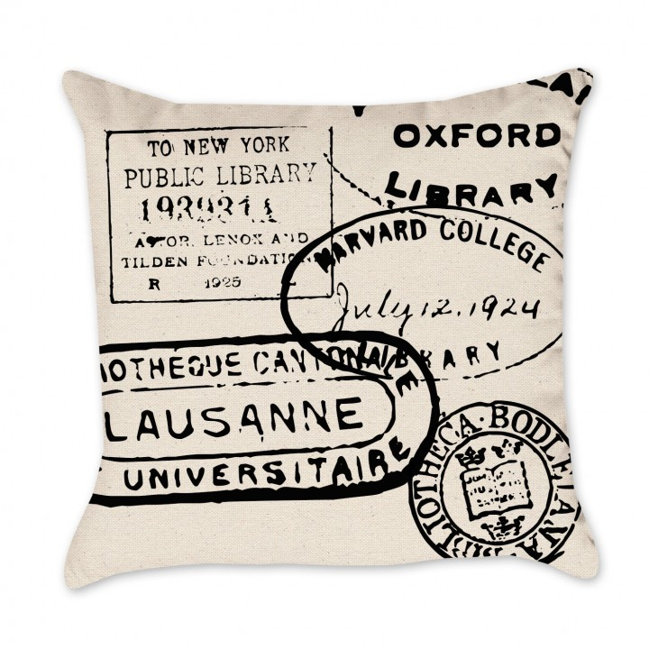 Library Stamp Pillow Cover
