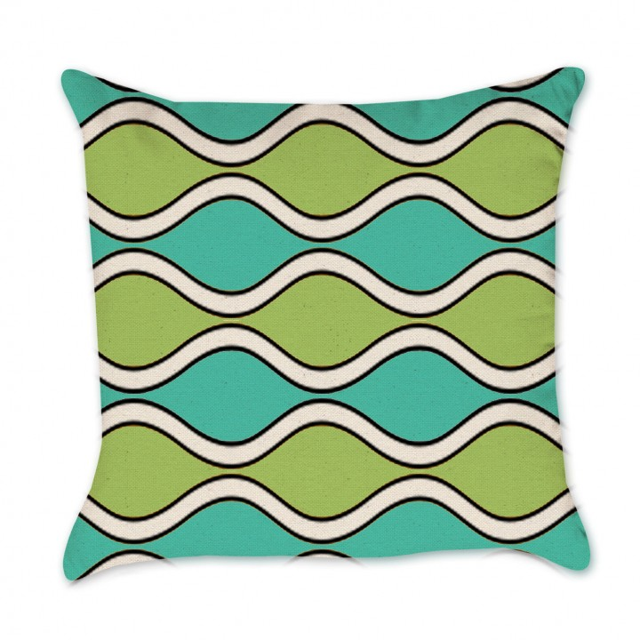 Aqua and Lime Waves Pillow Cover