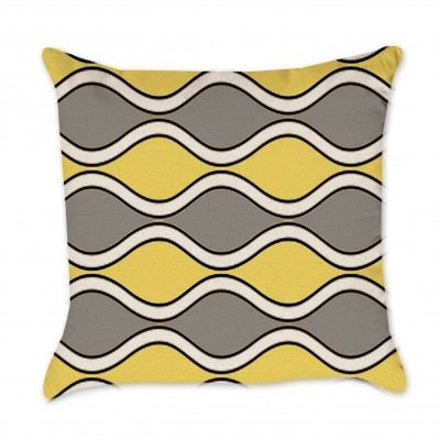 Yellow and Gray Waves Pillow Cover