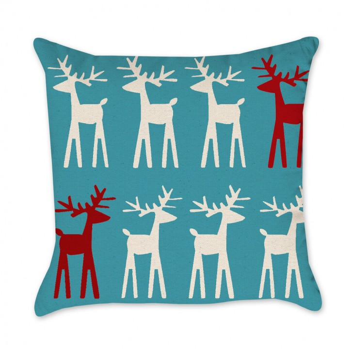 reindeer blue background pillow cover